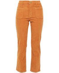 FRAME Le Cord Bardot Cropped Cotton-blend Corduroy Slim-leg Trousers Light Brown