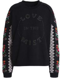 Needle & Thread - Cross Stitch Flower Embroidered And Beaded Sweatshirt - Lyst
