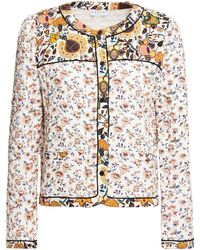Claudie Pierlot Quilted Floral-print Crepe Jacket Ivory - White