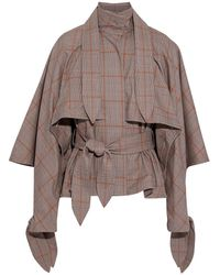 Zimmermann Unbridled Cape Tie Prince Of Wales Checked Stretch-cotton Jacket Mushroom - Multicolor