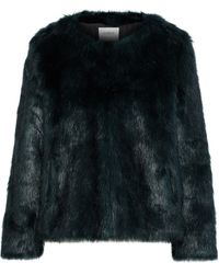 Ba&sh Waddy Faux Fur Coat Dark Green