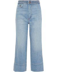 Current/Elliott The Braided Camp Cropped High-rise Wide-leg Jeans Light Denim - Blue
