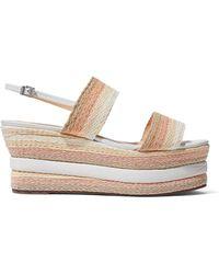Schutz - Leather-trimmed Woven Platform Sandals - Lyst
