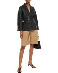 Gestuz Belted Leather Top - Black
