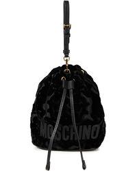 Moschino Leather-trimmed Devoré-velvet Bucket Bag - Black