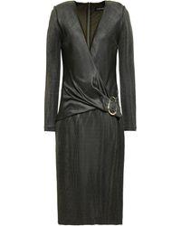 Cushnie Wrap-effect Knitted Dress Grey Green - Gray