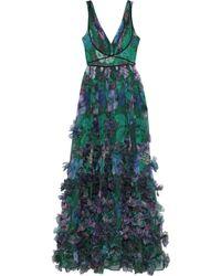 Marchesa notte 3d Floral Embellished Evening Gown - Green