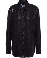 Redemption Metallic Snake-print Silk-blend Jacquard Shirt - Black