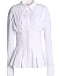 Antonio Berardi - Pleated Cotton-blend Poplin Peplum Shirt - Lyst