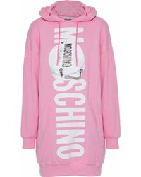 Moschino - Printed Cotton-blend Jersey Hooded Mini Dress - Lyst