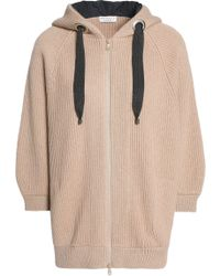 Brunello Cucinelli - Bead-embellished Ribbed Cashmere Hoodie - Lyst