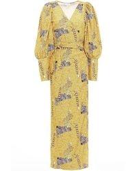 RHODE Aspen Printed Crepe Midi Wrap Dress - Yellow
