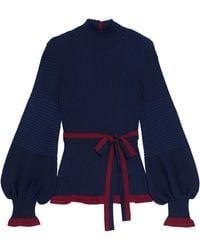 ROKSANDA Auric Belted Ribbed Merino Wool Turtleneck Jumper Midnight Blue