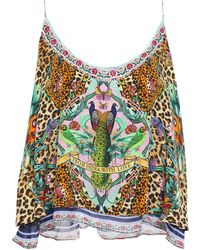 Camilla The Jungle Book Layered Printed Silk-chiffon And Crepe De Chine Camisole Multicolour