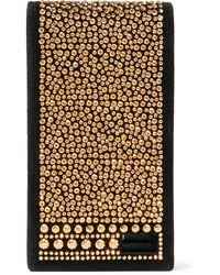 Valentino Crystal-embellished Suede Phone Case Black
