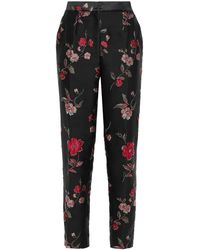 Dolce & Gabbana Floral-jacquard Tapered Trousers - Black
