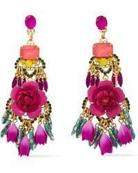 Elizabeth Cole - 24-karat Gold-plated, Crystal And Resin Earrings Pink - Lyst