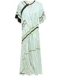 Cedric Charlier Ruched Zip-detailed Striped Twill Midi Dress Mint - Green