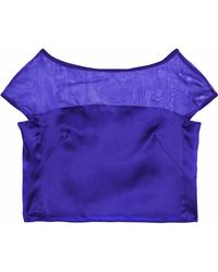 MILLY Cropped Organza-paneled Silk-satin Top Royal Blue
