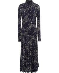 Victoria, Victoria Beckham Pleated Printed Satin-jersey Midi Dress - Multicolour