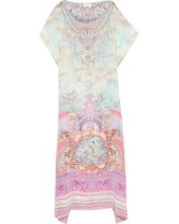 Camilla Electron Libre Crystal-embellished Printed Silk Crepe De Chine Maxi Dress Lavender - Multicolor