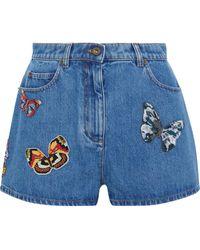 Valentino Bead-embellished Denim Shorts - Blue