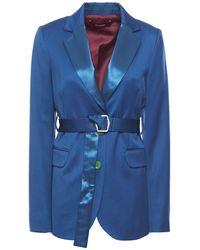 Sies Marjan Terry Blazer Aus Woll-twill Mit Satinbesatz Und Gürtel - Blau