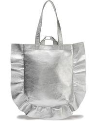 Loeffler Randall - Ruffle-trimmed Metallic Leather Tote - Lyst