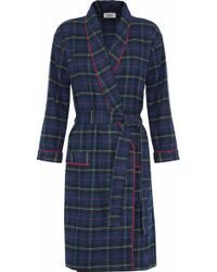Sleepy Jones - Checked Cotton-flannel Robe - Lyst