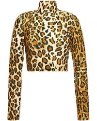 SPRWMN Cropped Stretch-jersey Turtleneck Top Animal Print - Multicolour