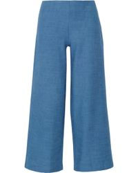 Solid & Striped The Side Zip Cotton-chambray Flared Pants - Blue