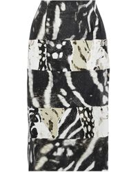 Max Mara - Paneled Printed Linen And Cotton-blend Twill Skirt - Lyst
