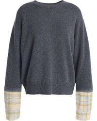 Vanessa Bruno Athé - Woman Paneled Checked Wool-blend Sweater Anthracite Size S - Lyst