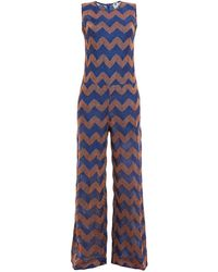 M Missoni Metallic Crochet-knit Jumpsuit Cobalt Blue