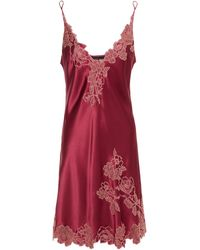 Carine Gilson Chantilly Lace-trimmed Silk-satin Chemise - Red