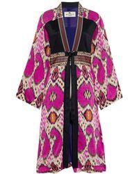 Etro Embellished Jacquard-trimmed Printed Satin Kimono - Multicolor