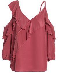 7626df3608ee69 Bailey 44 - Woman Unforgettable Cold-shoulder Ruffled Silk Crepe De Chine  Top Antique Rose