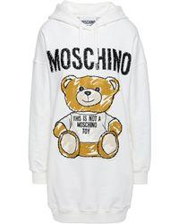 Moschino Appliquéd Embroidered Cotton-blend Jersey Hooded Sweatshirt White