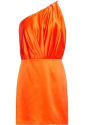 Michelle Mason One-shoulder Pleated Silk-charmeuse Mini Dress Bright Orange