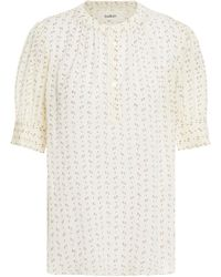 Ba&sh Eagle Crocheted Lace-trimmed Printed Woven Top - White