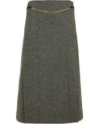Victoria Beckham Chain-trimmed Donegal Tweed Midi Skirt Leaf Green