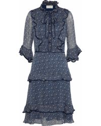 Mikael Aghal Pussy-bow Ruffle-trimmed Floral-print Chiffon Dress Navy - Blue