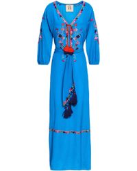 Figue Belted Embroidered Silk Crepe De Chine Maxi Dress Blue