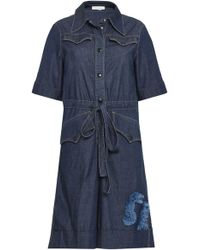 Sonia Rykiel - Woman Cotton-blend Chambray Playsuit Blue - Lyst