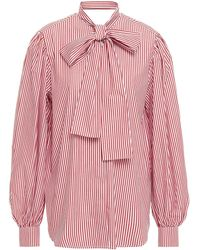 MSGM Pussy-bow Striped Cotton-poplin Blouse - Red