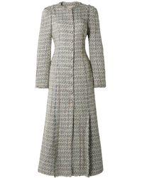Brock Collection Metallic Tweed Coat Light Grey