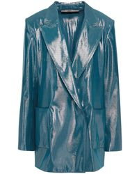 Roland Mouret Silk-blend Lamé Blazer Cobalt Blue