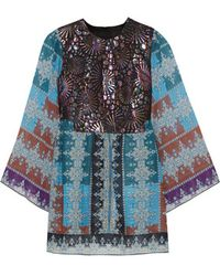 Anna Sui - - Metallic Jacquard And Printed Chiffon Tunic - Teal - Lyst