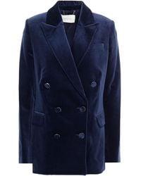 Zimmermann Double-breasted Cotton-velvet Blazer - Blue