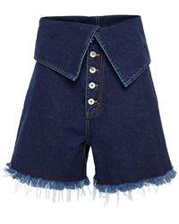 Marques'Almeida Layered Frayed Denim Shorts - Blue